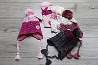Акриловая шапка ( на флисе) для девочек. 4- 8 лет.