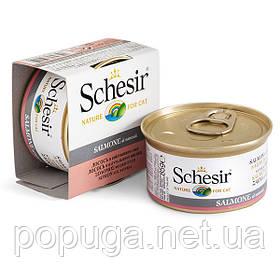 Schesir Salmon Natural Style консерви для кішок, лосось у власному соку, банку 85 г