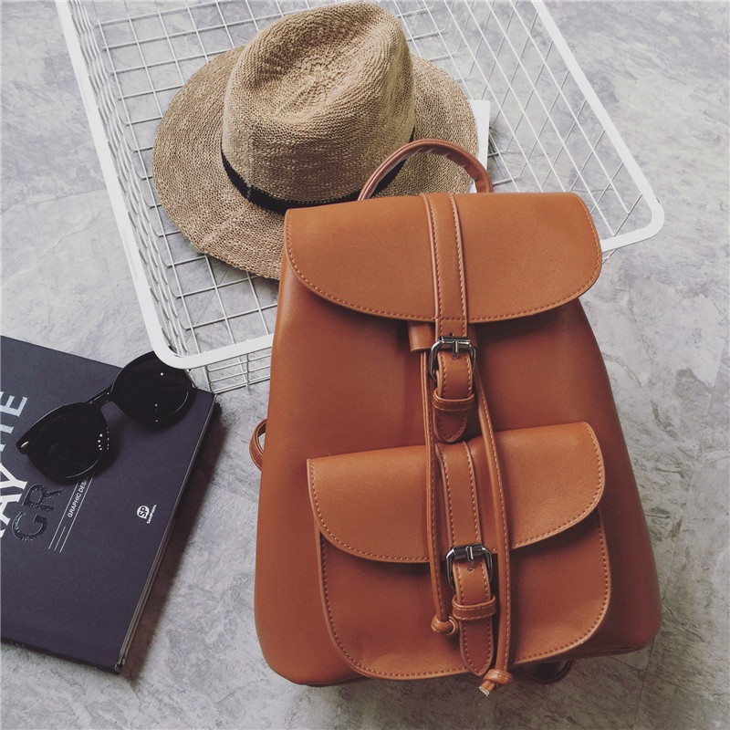 5675f4f67312 Рюкзак женский для девушек из экокожи с накладным карманом (коричневый) -  Интернет-магазин