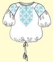 Сорочка женская под вышивку белая, рукав 3/4 ТПК-162 03-02/09