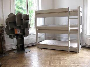 """Кровать трехъярусная деревянная """"Вектор"""" от производителя"""