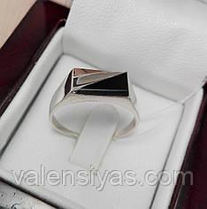 Перстень мужской серебряный с ониксом и золотом