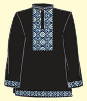 Сорочка мужская под вышивку черная, длинный рукав ТПК-172 21-03/08