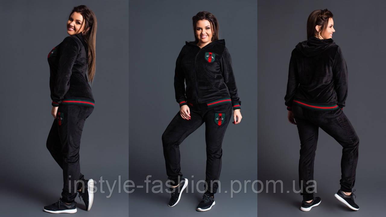 Женский Спортивный костюм Гуччи Gucci ткань плотный бархат до 54 размера