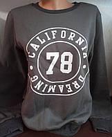 Батник на флисе с надписью коттоновый женский California Dreaming