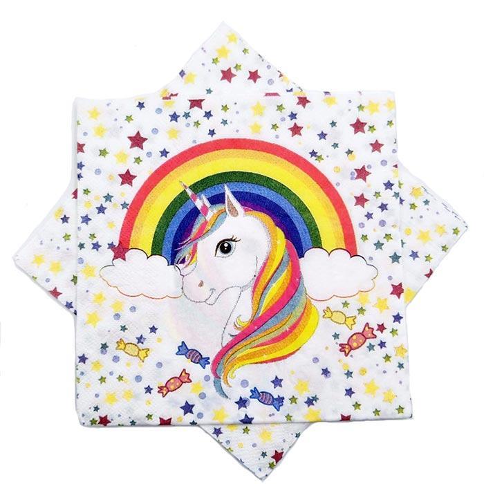 Салфетки Единорог .15 штук . на детский день рождения бумажные двухслойные детские