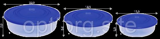 Набор контейнеров пищевых 0,55+1,025+1,7 л круглых с разноцветными крышками Алеана 167036