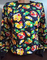 Батник на флисе с цветочным принтом коттоновый женский