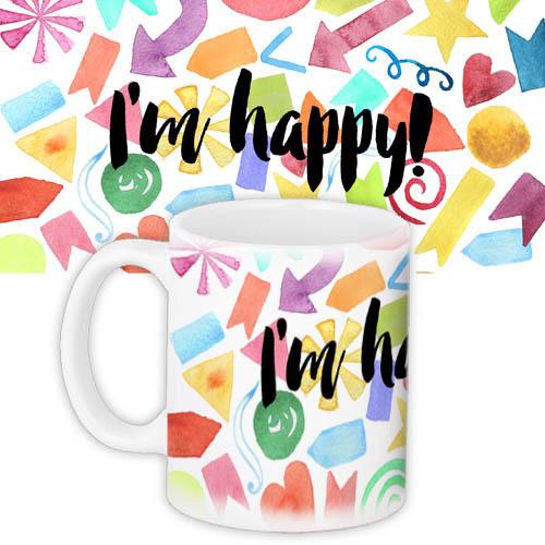 Кружка с принтом I'm happy 330 мл (KR_16J015)