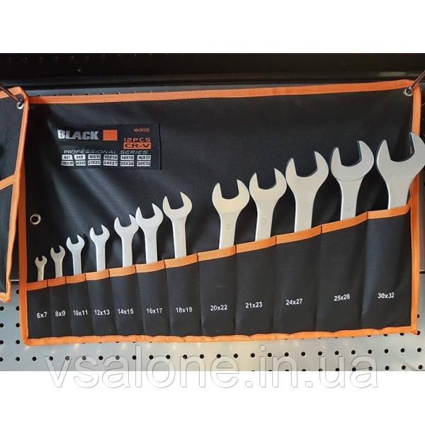 Набор ключей рожковых двусторонних Black 12 предметов