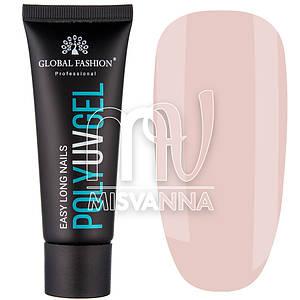 Полигель (акригель) Poly UV Gel ELN Global Fashion №02 30 мл, полупрозрачный персиковый