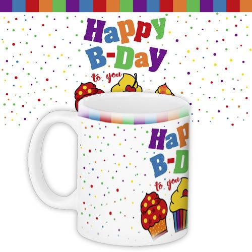 Кружка з принтом Happy birthday 330 мл (KR_18M011)