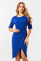 Синее платье с запахом и поясом