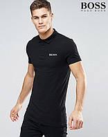 Модная черная футболка поло Boss