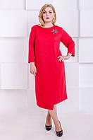Элегантное платье размер плюс  Ingrid красный (60-66), фото 1