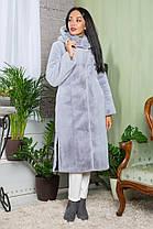 Шуба женская из эко меха 041 серая, фото 2