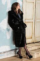 Шуба женская из эко меха 044 черная Размеры: 42, 44, 46, 48, 50, 52, 54, фото 3