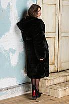 Шуба женская из эко меха 044 черная Размеры: 42, 44, 46, 48, 50, 52, 54, фото 2