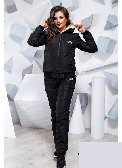 Утепленный спортивный костюм с мехом черный 816884