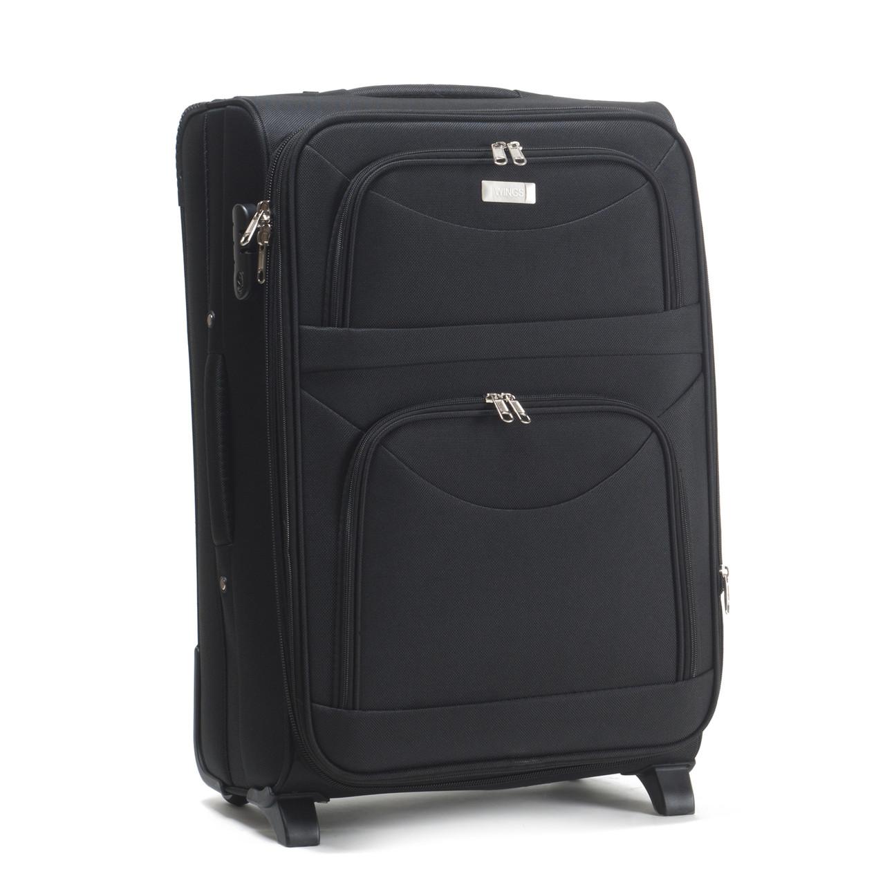 Средний тканевый чемодан Wings 6802 на 2 колесах черный