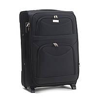 Средний тканевый чемодан Wings 6802 на 2 колесах черный, фото 1