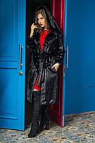 Шуба женская из эко меха 050 черная Размеры: 42, 44, 46, 48, 50, 52, 54, фото 3