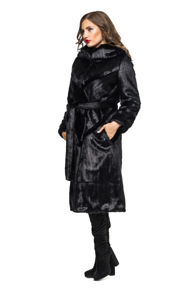 Шуба женская из эко меха 050 черная Размеры: 42, 44, 46, 48, 50, 52, 54