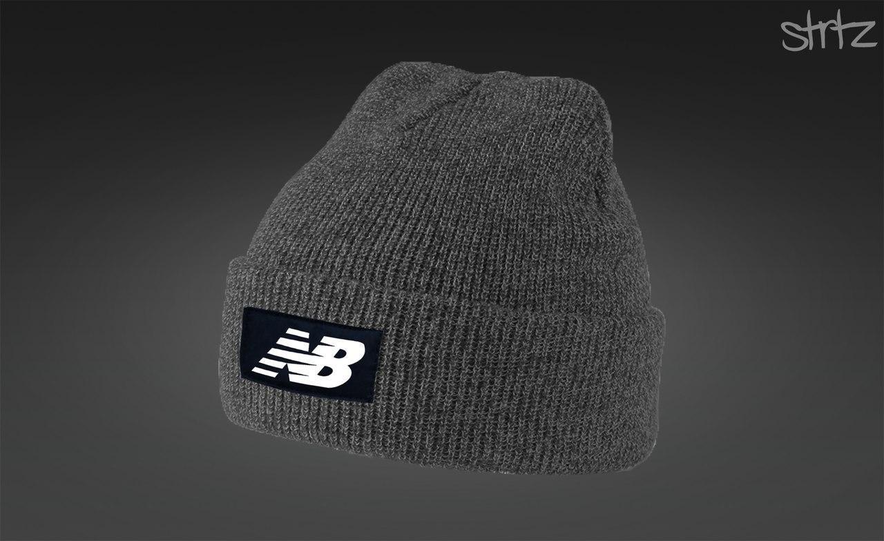 Серая теплая шапка New Balance