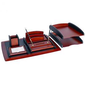 Настольный набор для руководителя, дерево, искусственная кожа, 6 предметов 123-0013