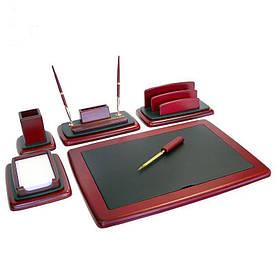 Настольный набор для руководителя, дерево, кожа, 6 предметов 123-0014