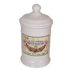 Керамическая баночка в ванную комнату, d-8 см., h-19 см. 124-0066