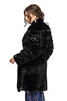 Шуба женская из искусственного меха 071 черная Размеры от 42 до 54, фото 3