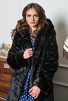 Шуба женская из искусственного меха 081 черная Размеры: 42, 44, 46, 48, 50, 52, 54, фото 3