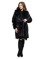Шуба женская из искусственного меха 081 черная Размеры: 42, 44, 46, 48, 50, 52, 54, фото 2