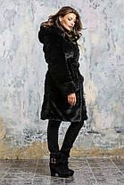 Шуба женская из эко меха 084 черная Размеры: 42, 44, 46, 48, 50, 52, 54, фото 3