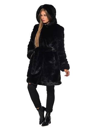 Шуба женская из эко меха 084 черная Размеры: 42, 44, 46, 48, 50, 52, 54, фото 2