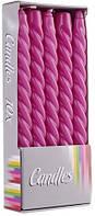 Свеча витая фиолетовая Bispol 24.5 см 10 шт (20-040)