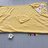 Полотенце-уголок с капюшоном пищалкой+варежка Bebellove желтое, фото 1