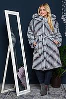 Шуба женская из искусственного меха 112 серая Большие размеры от 48 до 64