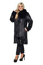 Шуба женская из искусственного меха 120 черная Большие размеры от 48 до 64, фото 2