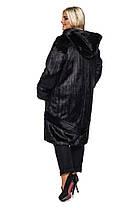 Шуба женская из искусственного меха 120 черная Большие размеры от 48 до 64, фото 3