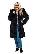 Шуба женская из искусственного меха 124 черная Размеры: 48, 50, 52, 54, 56, 58, 60, 62, 64, фото 2