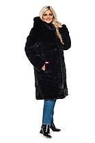 Шуба женская из искусственного меха 124 черная Размеры: 48, 50, 52, 54, 56, 58, 60, 62, 64, фото 3