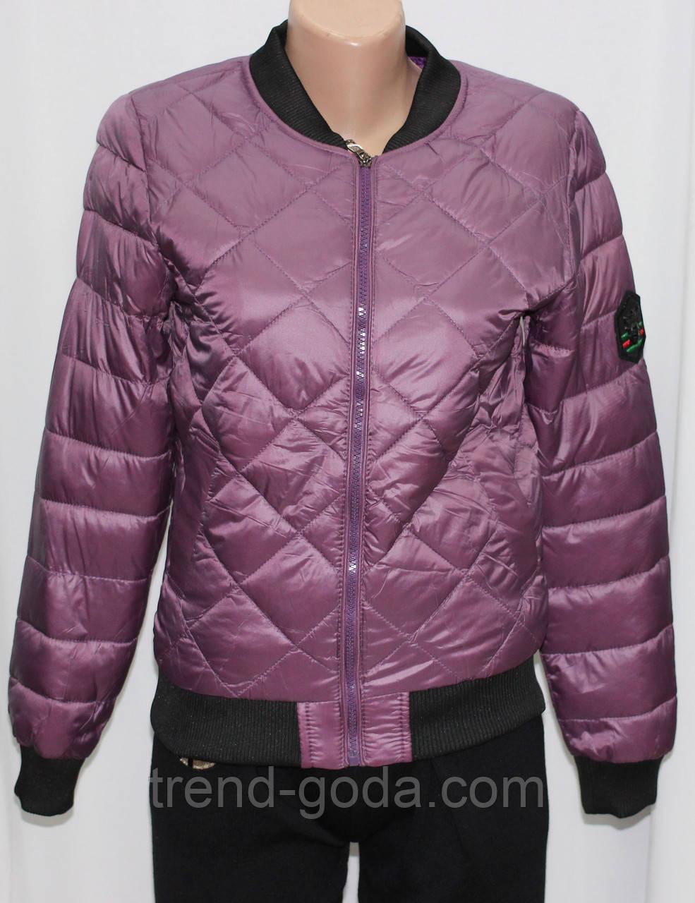Куртка осенняя женская, на синтепоне, фиолетовая, с пчелой