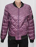 Куртка осенняя женская, на синтепоне, фиолетовая, с пчелой, фото 1