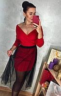 Красное платье с фатиновой юбкой, фото 1