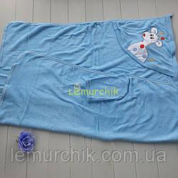 Рушник-куточок з капюшоном пискавкою+рукавиця Bebellove, блакитне