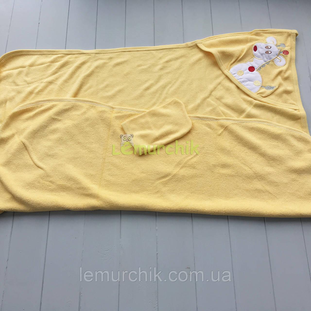 Полотенце-уголок с капюшоном пищалкой+варежка Bebellove, желтое