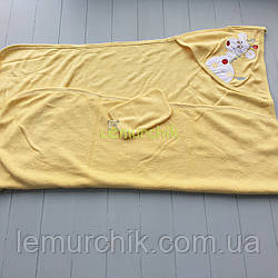 Рушник-куточок з капюшоном пискавкою+рукавиця Bebellove, жовте