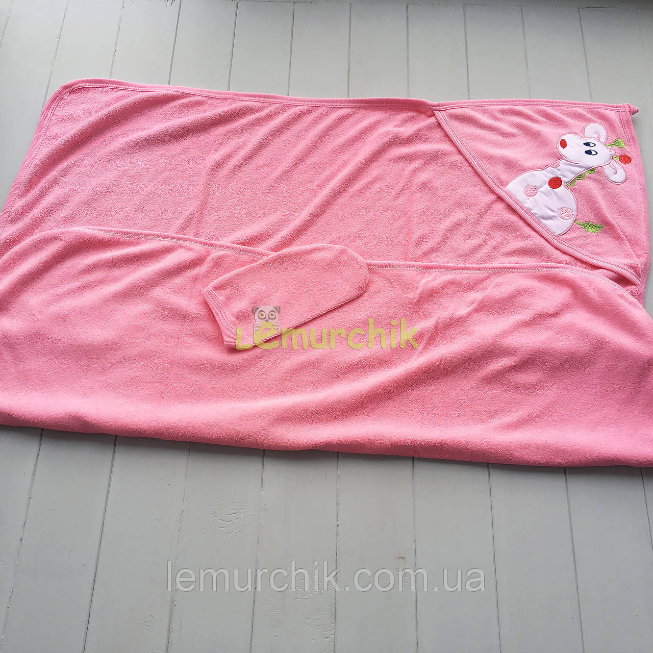 Рушник-куточок з капюшоном пискавкою+рукавиця Bebellove, рожеве
